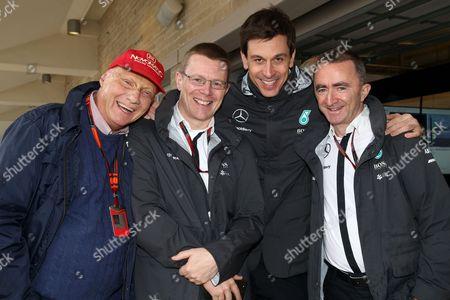 Niki Lauda (AUT, Mercedes AMG Petronas F1 Team), Andy Cowell (Mercedes AMG Petronas F1 Team), Toto Wolff (AUT, Mercedes AMG Petronas Formula One Team), Paddy Lowe (GBR, Mercedes AMG Petronas Formula One Team)