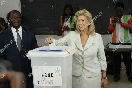 Dominique Folloroux-Ouattara voting at a polling station in Abidjan
