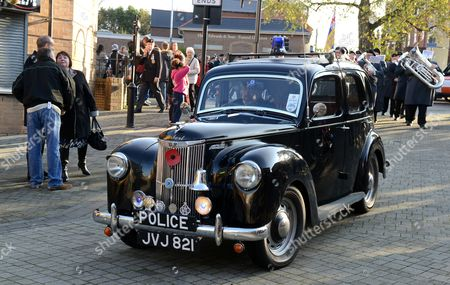 Stock Picture of 1952 Ford Prefect police car driven and owned by Brian Bedford
