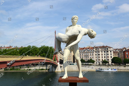 """Public sculpture """"The weight of One Self"""" by Michael Elmgreen & Ingar Dragset in Lyon France french"""