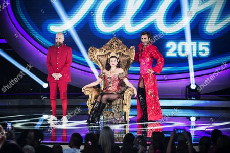Stock Image of Army of Lovers - Alexander Bard, Dominika Peczynski, Jean-Pierre Barda on Idol. Dominika broke her thumb during the performance on Swedish Idol