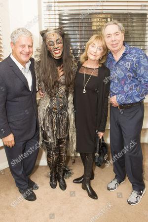 Cameron Mackintosh (Producer), Beverley Knight (Grizabella), Gillian Lynne (Choreographer) and Lord Sir Andrew Lloyd Webber (Music) backstage