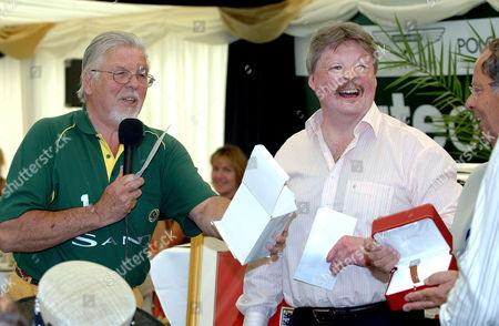 Geoff Lloyd, chairman of the St Davids Polo and Racing Club doing the raffle with Simon Weston.