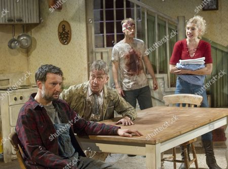 Stock Image of Dan Fredenburgh as Tom, Stephen Tompkinson as Teddy, Erik Odom as Tim , Charlotte Parry as Tina