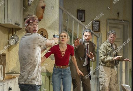 Stock Picture of Erik Odom as Tim, Charlotte Parry as Tina, Dan Fredenburgh as Tom, Stephen Tompkinson as Teddy
