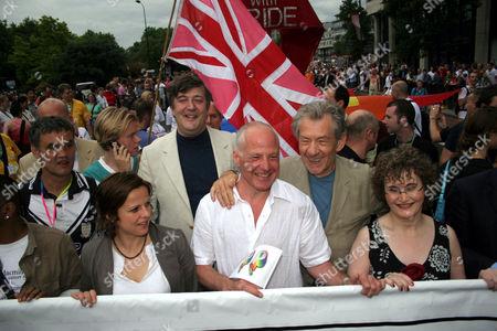 Rhona Cameron, Stephen Fry, Michael Cashman and Ian McKellen