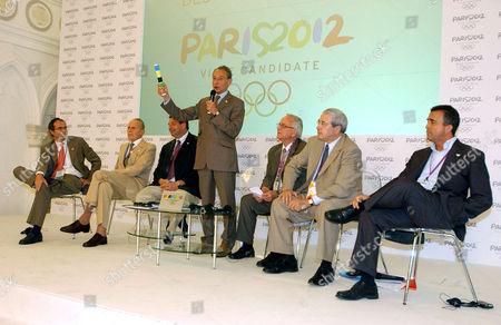 'Paris 2012' Olympic bid delegates (l-r) : Philippe Baudillon, Alain Danet, Jean Francois Lamour, Bertrand Delanoe, Henri Serandour, Jean Paul Huchon and Arnaud Lagardere