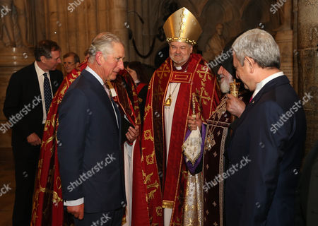 Prince Charles greets the Catholicos of All Armenians His Holiness Karekin II and the President of the Republic of Armenia Serzh Sargysyan as the Bishop of London Right Reverend Richard Chartres looks on