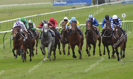 (Far R) Chelsea Lad (Fergus Sweeney) wins The British Stallion Studs EBF Maiden Stakes from (Far L) Clear Cut (Kevin Manning) 