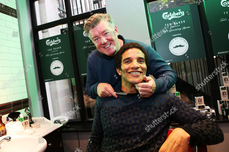 David James and Geoff Shreeves gets a complimentary shave at Ted's Grooming Room in London with Carlsberg's new male grooming range to help raise money for the Movember foundation