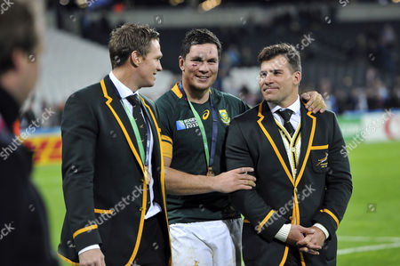 Jean de Villiers, Francois Louw and Schalk Brits of South Africa after the match