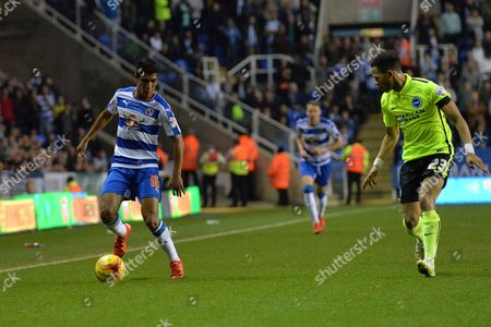 Reading's Paolo Hurtado attacks down the flanks during the Sky Bet Championship match between Reading and Brighton and Hove Albion at the Madejski Stadium, Reading