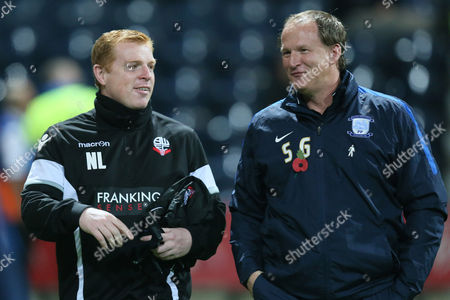Bolton Wanderers manager Neil Lennon and Preston North End manager Simon Grayson during the Sky Bet Championship match between Preston North End and Bolton Wanderers played at Deepdale on October 31st  2015