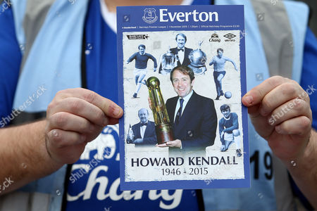 An image of Howard Kendall features on the match day programme ahead of the Barclays Premier League match between Everton and Sunderland played at Goodison Park, Liverpool on November 1st 2015