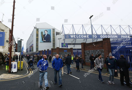 An image of Howard Kendall features on the stand ahead of the Barclays Premier League match between Everton and Sunderland played at Goodison Park, Liverpool on November 1st 2015