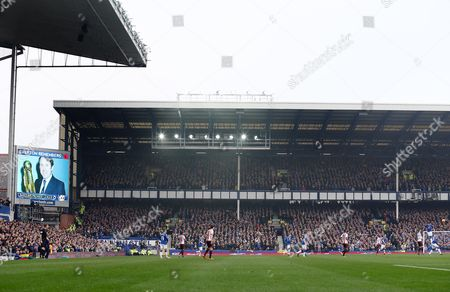 An image of Howard Kendall features on the big screen during the Barclays Premier League match between Everton and Sunderland played at Goodison Park, Liverpool on November 1st 2015