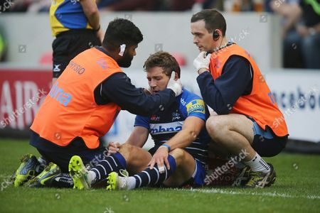 Chris Cusiter is assessed for a head injury during the Aviva Premiership match between Sale Sharks and Northampton Saints played at AJ Bell Stadium, Salford