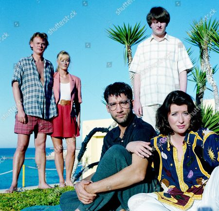 Martin Clunes, Lizzy McInnerny, Clive Owen, Paul Merton and Caroline Quentin