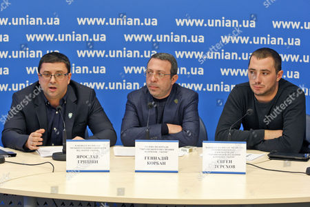 Ukrainian Patriots Association candidate for Mayor of Zaporozhye, Jaroslav Grishin, party leader, Hennadiy Korban and candidate for Mayor of Pavlograd Evgen Terekhov during a press conference on the results of local councils elections
