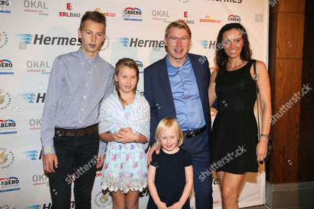 Mika Hakkinen and Marketa Remesova with son Hugo and daughters Aina Julia and Ella Emilia
