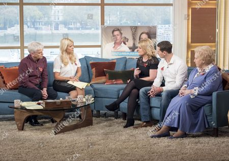 Phillip Schofield and Holly Willoughby with Amanda and Jamie Stewart and Denise Robertson