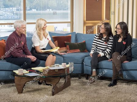 Phillip Schofield and Holly Willoughby with Anais Bordier and Samantha Futerman (twin sisters find each other on Facebook)