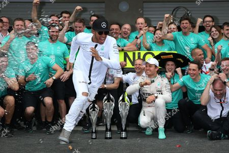 Lewis Hamilton, Paddy Lowe, Nico Rosberg