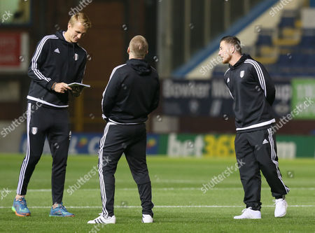 Fulham Dan Burn chats to Ross McCormack and Jamie O'Hara before the Sky Bet Championship match between Burnley and Fulham played at Turf Moor on November 3rd 2015