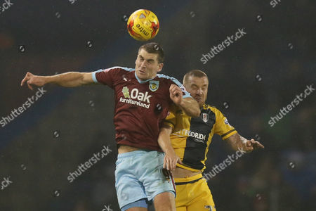 Burnley's Sam Volkes and Fulham's Jamie O'Hara during the Sky Bet Championship match between Burnley and Fulham played at Turf Moor on November 3rd 2015