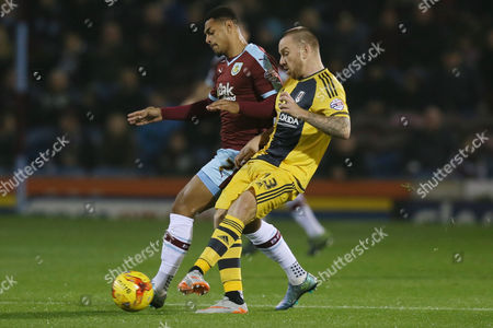 Fulham's Jamie O'Hara and Burnley's Andre Gray during the Sky Bet Championship match between Burnley and Fulham played at Turf Moor on November 3rd 2015