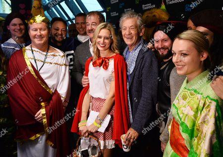 Stock Photo of Owen Teale, Laura Carmichael and Sir Ian McKellen