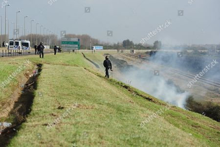 Calais France 22102014 2014 Smoke Bomb Released Editorial Stock