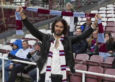 Editorial image of Russel Brand - West Ham Fan. Premier League: West Ham United V Manchester City (2-1) Picture Andy Hooper/daily Mail.
