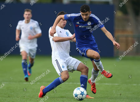 Chelsea Under 19's Isaac Christie-Davies in action during todays match