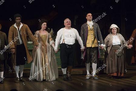 Micah Balfour (Frank Barber), Dervla Kirwan (Peg Woffington), Simon Russell Beale (Samuel Foote), Joseph Millson (David Garrick) and Jenny Galloway (Mrs Garner) during the curtain call