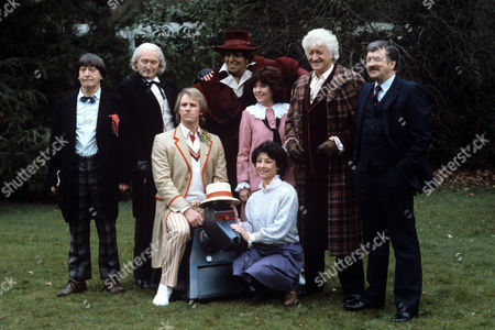 Stock Photo of 'Dr Who' Photocall - 'Gathering of Dr Who''s' - 1983 Patrick Troughton, Richard Hurndall as William Hartnell, Peter Davison on K9, Model of Tom Baker, Elisabeth Sladen. Carole Ann Ford, Jon Pertwee, Nicholas Courtney.