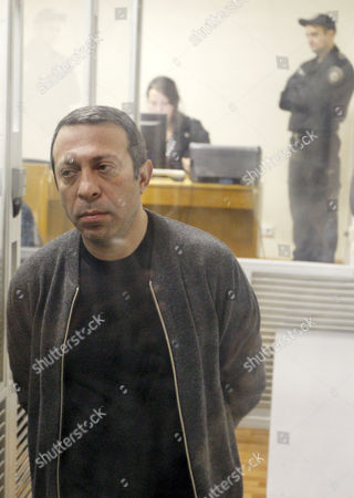 Stock Image of UKROP party leader Hennadiy Korban inside a cage during his trial