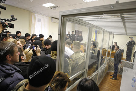 Stock Photo of UKROP party leader Hennadiy Korban inside a cage during his trial