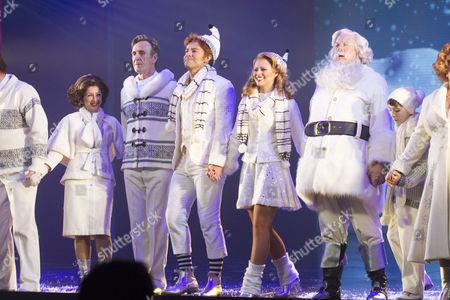 Jessica Martin (Emily Hobbs), Joe McGann (Walter Hobbs), Ben Forster (Buddy), Kimberley Walsh (Jovie), Mark McKerracher (Santa) and Ilan Galkoff (Michael) during the curtain call
