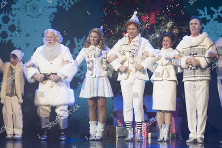 Ilan Galkoff (Michael), Mark McKerracher (Santa), Kimberley Walsh (Jovie), Ben Forster (Buddy), Jessica Martin (Emily Hobbs) and Joe McGann (Walter Hobbs) during the curtain call