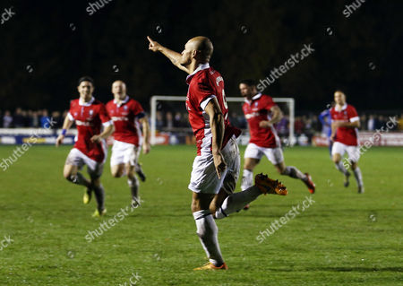 Danny Webber of Salford City celebrates scoring the opening goal during the Emirates FA Cup 1st round match between Salford City and Notts County played at Moor Lane, Salford on November 6th 2015