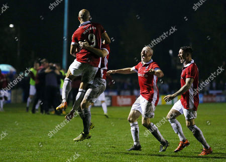 Danny Webber of Salford City celebrates scoring the opening goal with his team-mates during the Emirates FA Cup 1st round match between Salford City and Notts County played at Moor Lane, Salford on November 6th 2015