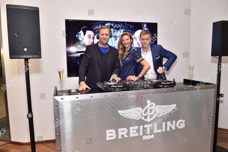 Dan Lywood and Ben Bridgewater with an ambassador of Breitling