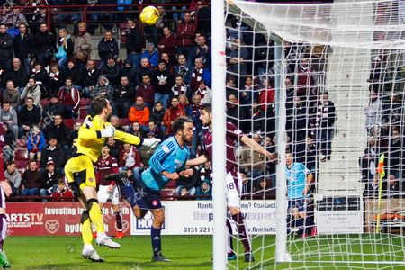 Hearts FC Goalkeeper Neil Alexander making a vital punch during the Ladbrokes Scottish Premiership match between Heart of Midlothian and Hamilton Academical FC at Tynecastle Stadium, Gorgie