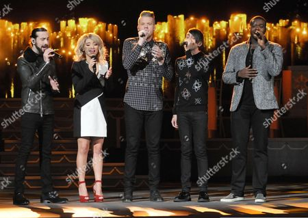 Avi Kaplan and Kirstie Maldonado, Scott Hoying, Mitch Grassi, and Kevin Olusola, Pentatonix