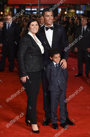 Stock Picture of Cristiano Ronaldo with mother Maria Dolores Aveiro and son Cristiano Ronaldo Jnr