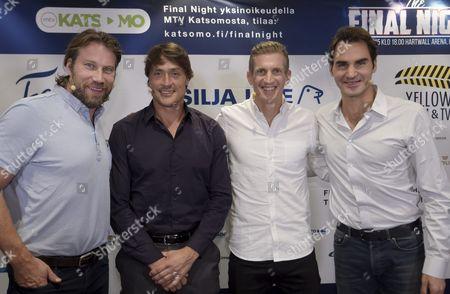 Peter Forsberg, Teemu Selänne, Jarkko Nieminen and Roger Federer