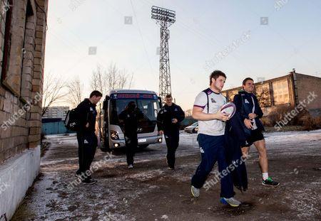 Jason Harris-Wright and Ian Porter arrive for training