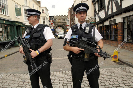 Armed police in the streets by the Cathedral.