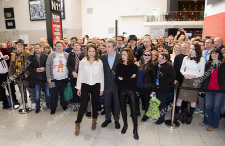 Ingrid Oliver, Peter Capaldi, Michelle Gomez with Dr Who fans